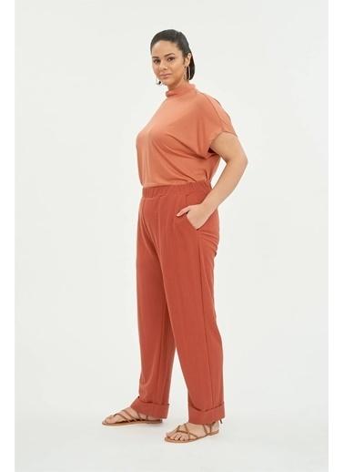 Luokk Karen 1 Duble Paça Cepli Kadın Pantolon Kiremit Kiremit